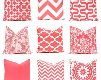Coral Pillow Covers - 20 x 20 - Decorative Pillow Covers - Coral Chevron Pillow Covers - Coral Solid Cushion Covers - Coral Cushions