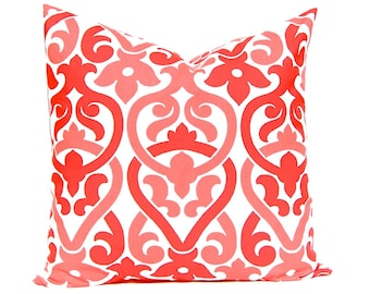 Red Coral Pillow Cover, Deep Coral White, Coral Throw Pillows,  Coral Chain Link Pillow Coral Sofa Pillow
