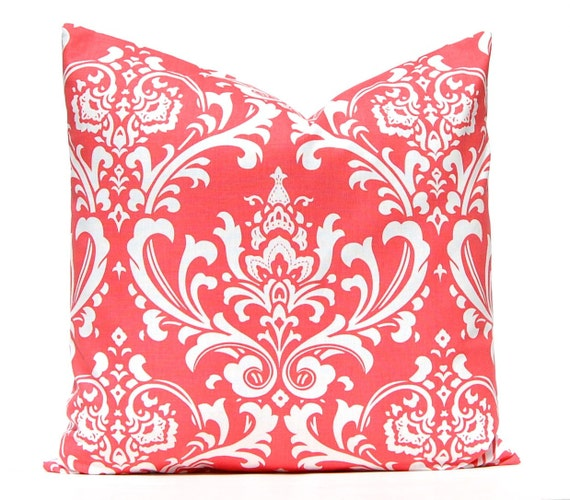 Decorative Throw Pillows Etsy : Decorative Throw Pillow Covers 16 x 16 Coral Pillow Covers