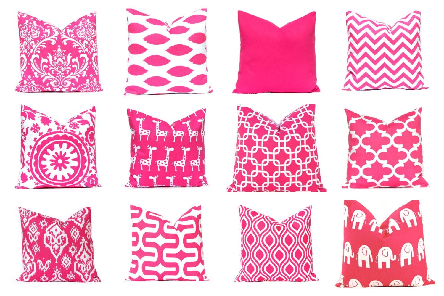 Pink Decorative Pillow Covers : Pink Euro Sham Pillow Cover Teen Room Decor Throw Pillow