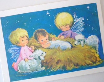 Christmas Postcards Baby Jesus and Two Angels - Lot of 11 Unused Cards - Vintage