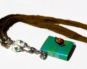 Miniature handmade paper notebook necklace