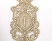 Venice Lace Applique Medallion Motif Golden Hand Dyed