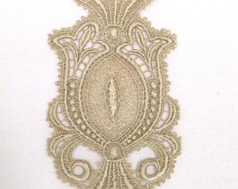 Venice Lace Applique Medallion Motif Golden Hand Dyed