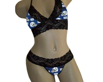 Sexy Indianapolis Colts NFL Lingerie Black Lace Cami Bralette Style Tie-Top, Matching G-String Panty - D Cup Top, S G-string - Ready to Ship