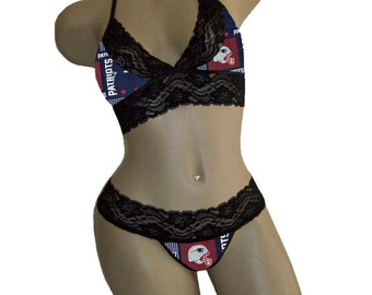 Sexy New England Patriots NFL Lingerie Black Lace Cami Bralette Style Tie-Top and Matching G-String CUSTOM Sizing Print 2