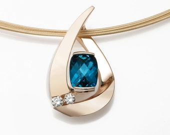 14k gold necklace, London blue topaz pendant, diamond necklace, December birthstone, contemporary jewelry, luxury gift - for her - 3378