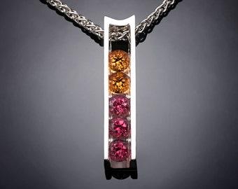 garnet and citrine necklace, November birthstone, January birthstone, rhodolite garnet, Argentium silver, modern jewelry, artisan gift  3503
