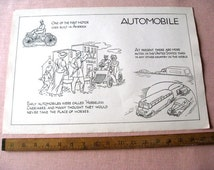 """Vintage Old Classroom School Poster 12"""" x 18"""" Automobile  Cars 1930's History"""