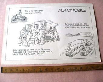 "Vintage Old Classroom School Poster 12"" x 18"" Automobile  Cars 1930's History"