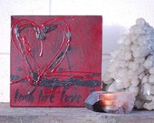 Long Live Love. red & black original calligraphy on canvas, quotation, graffiti style heart, love heart, heart on canvas, word art