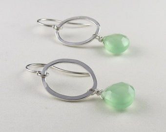 Silver Oval Earrings with Green Briolettes-Handmade