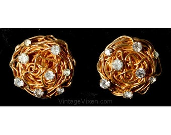Elegant 50s Bird's Nest Earrings with Rhinestones by Castlecliff - Mint Condition - Goldtone Metal - 1950s Designer Novelty Jewelry - 36415