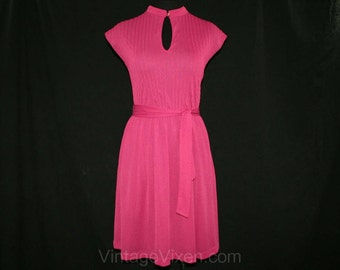 Size 10 Orchid Purple Summer Dress - Spring - Summer - Cap Sleeved - 1970s - 1980s - Lightweight - with Sash Belt - Bust 36 - 41634