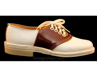 1950s Child's Roan & White Saddle Oxfords - Size 13 - Girls - 50s Shoes - Deadstock - Fall - Swing Dance Style - Brown - Unworn - 37122-1