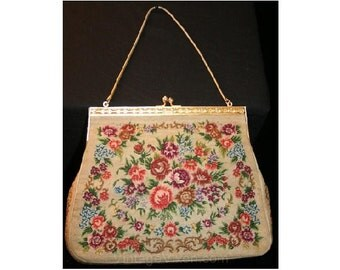Exquisite Victorian-Inspired 1940s Needlepoint Bag - Handbag - Antique Style Needlework Purse - Filigree Detail - Chain Strap - 32816
