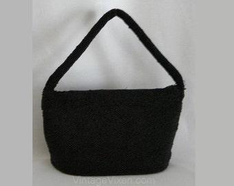 Lux 1940s Black Hand-Beaded Bag - Charlet Paris Label - Formal Accessories - 40s Caviar Beads Evening Bag - Elegant Winter Purse - 27936
