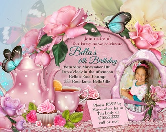 Tea Party Invitation, Photo Tea Party, Party Invitations, Birthday Tea Party, Tea Parties, Photo Cards
