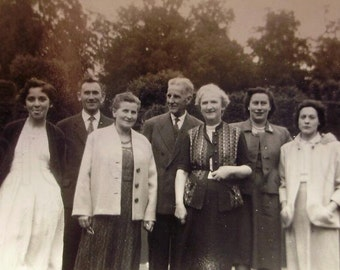 Vintage French Photo - Group in a Garden