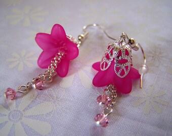 Flower Earrings Fuschia Lucite