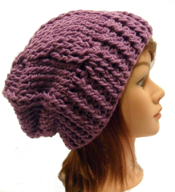 Crochet Cabled Slouchy Beanie Hat in Purple Medium