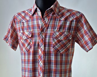 Men's 60's/70's Western Plaid Shirt Palermo Red Blue White Yellow size L