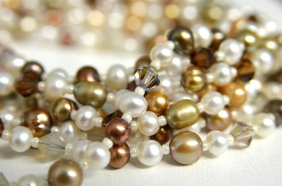 Long Brown Necklace with Beige, Khaki, Sand, Chocolate & White Pearls and Crystals Handmade in Maine from North Atlantic Art Studio