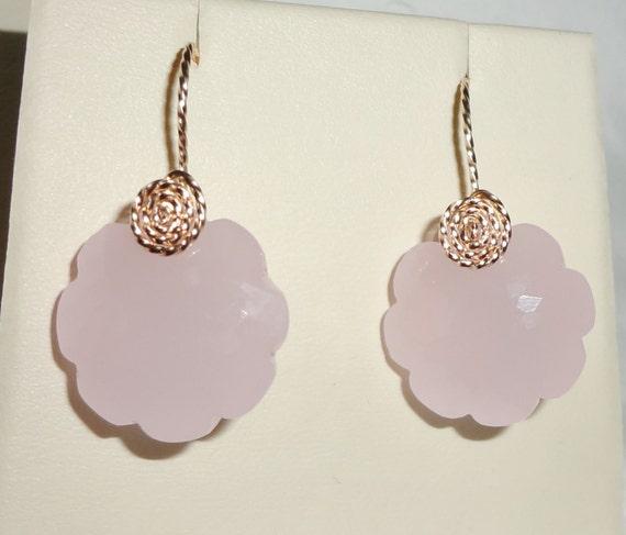 "34 cts Natural Flower cut Rose Quartz, 14kt yellow gold Pierced Earrings 1 1/8"" long"