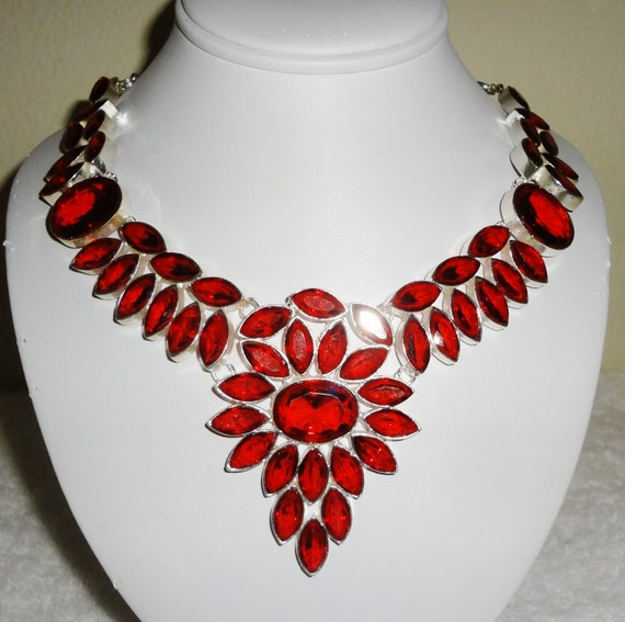 "Red Quartz Necklace in .925 Sterling Silver, 138 grams, 25"" adjustable Barrow Clasp"