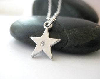 Star Initial Necklace, Sterling Silver, Hand Stamped Jewelry, Silver Star Charm Necklace, Initial Jewelry, Mom Jewelry, Jewelry for Mom