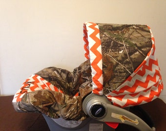 REALTREE CAMO fabric & orange chevron Infant Car Seat Cover and Canopy with Free Monogram