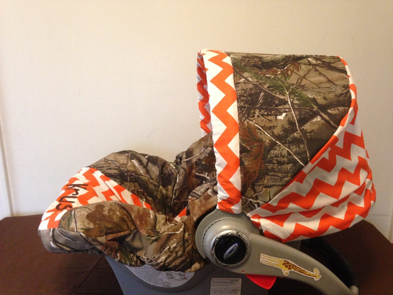 Realtree Camo Fabric Amp Orange Chevron Infant Car Seat Cover
