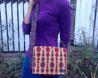 Small Messenger Bag Upcycled Padded Ipad Bag Red and Purple