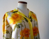 50% Off Rare Vera Silk Blouse Lady Bug Label Yellow 60s Mid Century Sale