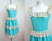 Aqua blue / cream lace peasant style crepe 1970s dress - XS S