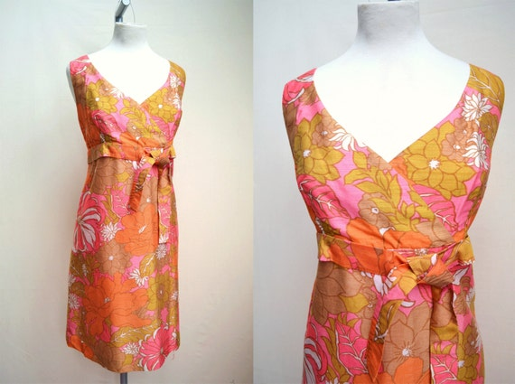 1960s Hot pink & green psychedelic floral dress - M L