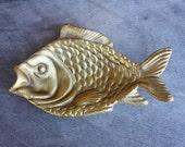 Vintage Gold Fish Metal Dish