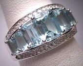 Vintage Aquamarine Diamond Wedding Ring Band White Gold 14K