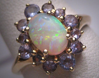 Vintage Australian Opal Tanzanite Ring Estate Wedding 14K Gold
