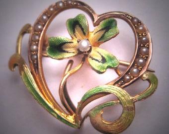 Rare Antique Enamel Clover Brooch Victorian Art Nouveau Gold Watch Pin - Pendant