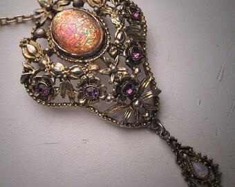 Antique Victorian Revival Opal Amethyst Necklace Deco - Brooch Pin Pendant