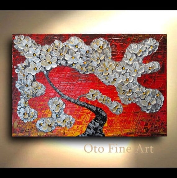ORIGINAL Painting 24x36 Red Yellow White Floral Abstract Art Flower Painting tree flower Large Textured Modern Canvas Painting by OTO