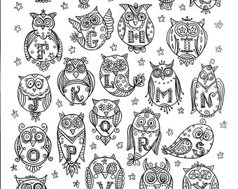 Instant Download OWL Alphabet  Coloring Page Adult coloring Book Digital