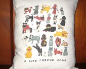 Rescue Dogs White Linen/Rayon Pillow Cover
