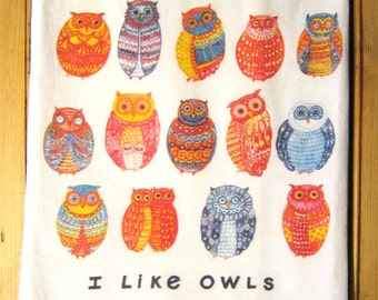 I Like Owls Kitchen Towel