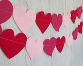 Wedding decoration red pink felt heart garland