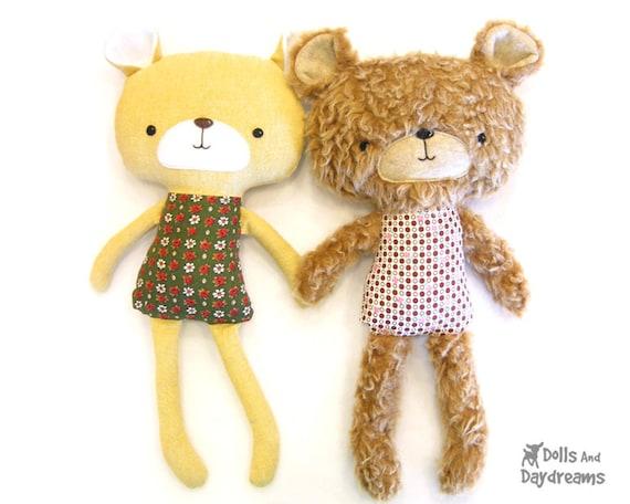 Teddy Bear Softie PDF Sewing Pattern Stuffed Toy Plush