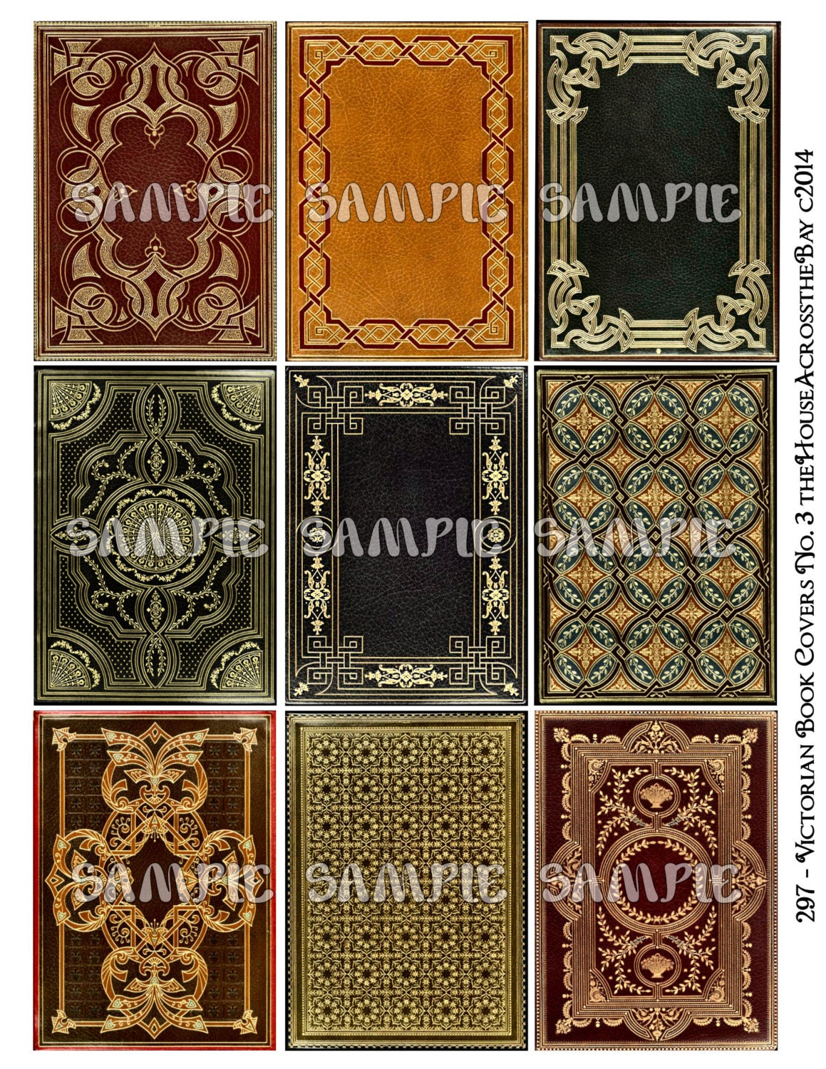 Victorian book covers no 3 atc aceo printable download 2 5 for Jewelry books free download