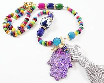 Multi Jewel Color Hamsa Necklace Fatima Hand Statement Gypsy Protective Jewelry Hippie Bohemian Artisan - One Of a Kind