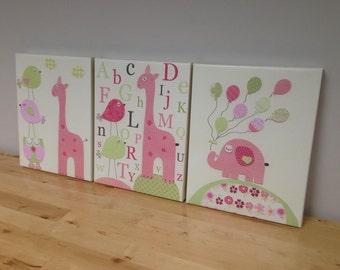 Shabby Chic Nursery Decor - Nursery Wall Art For Baby Girl Room Decor - Hayley Nursery Decor in Light Pink and Green -  set of 3 11x14